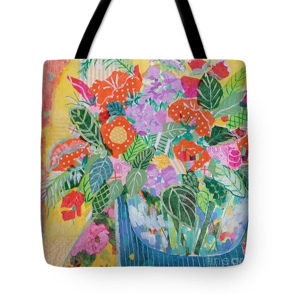 Tote Bag featuring the mixed media A Colorful Still Life by Rosemary Aubut