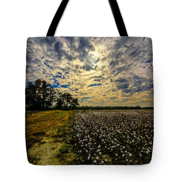 A Cotton Field In November Tote Bag by John Harding