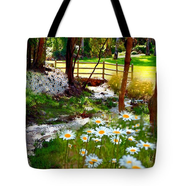 A Country Stream With Wild Daisies Tote Bag