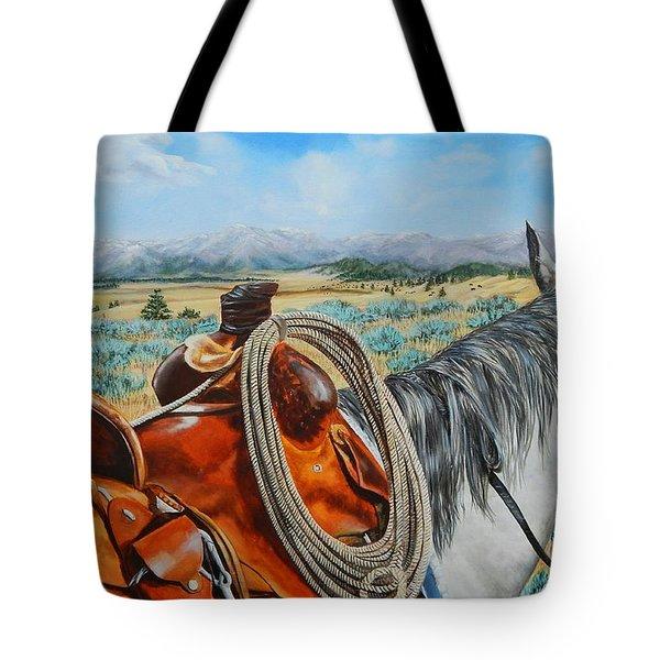 A Cowboy's View Tote Bag