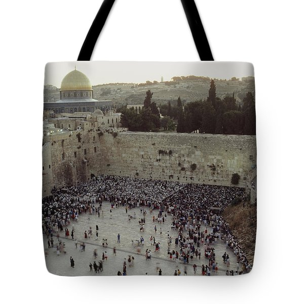 A Crowd Gathers Before The Wailing Wall Tote Bag by James L. Stanfield