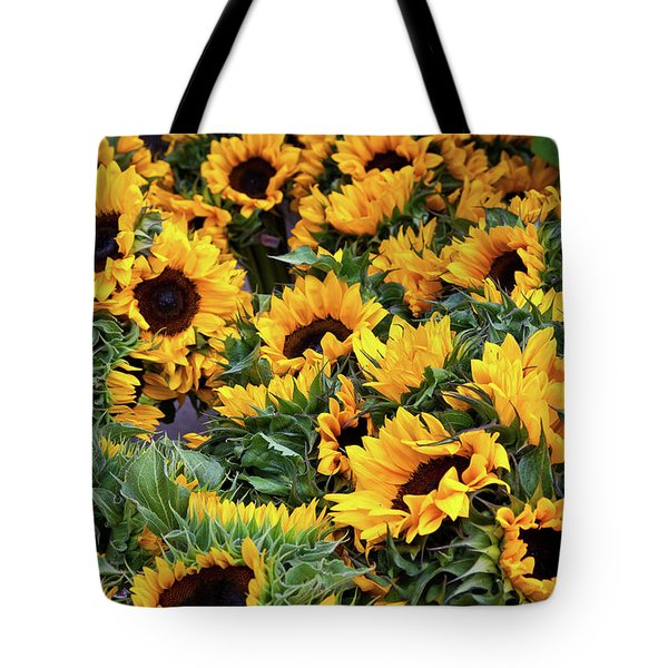 Tote Bag featuring the photograph A Crowd Of Sunflowers by Susan Cole Kelly