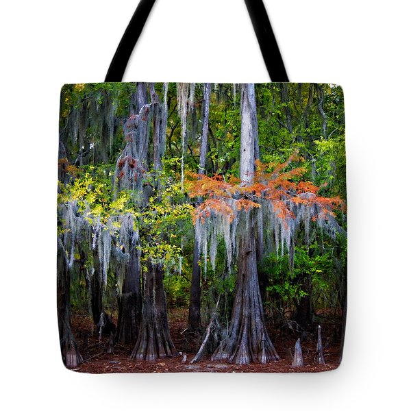 Tote Bag featuring the digital art A Cypress Fall by Lana Trussell