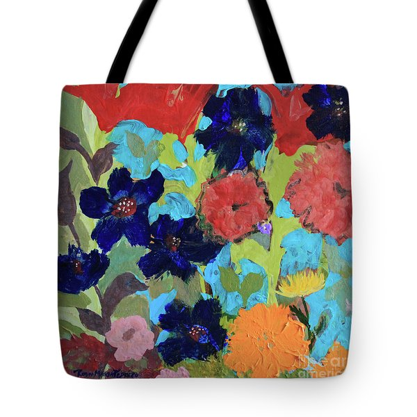 Tote Bag featuring the painting A Dandelion Weed Making It's Way In The Garden by Robin Maria Pedrero
