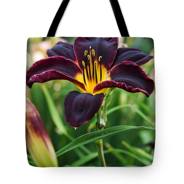 A Dark Purple Tiger Lilly Tote Bag