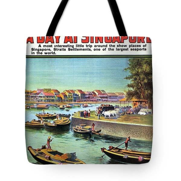 A Day At Singapore - Singapore Harbor - Retro Travel Poster - Vintage Poster Tote Bag