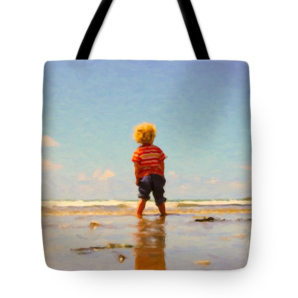 Tote Bag featuring the painting A Day At The Beach by Chris Armytage