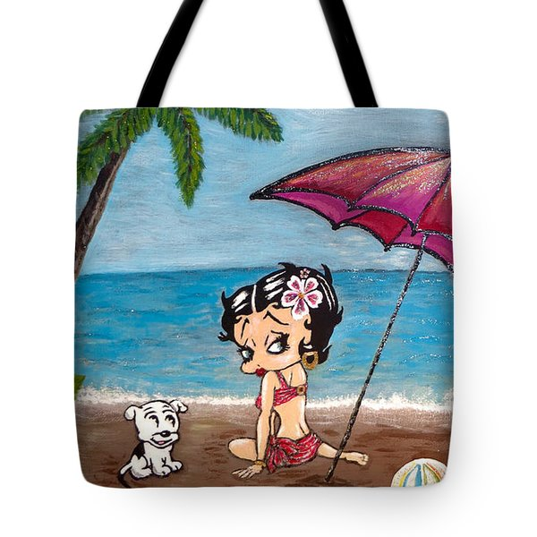 Tote Bag featuring the painting A Day At The Beach by Teresa Wing