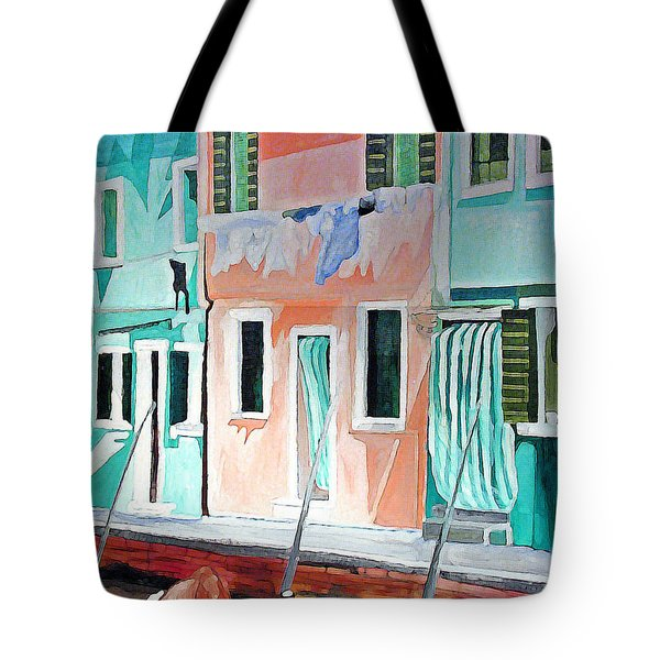 Tote Bag featuring the painting A Day In Burrano by Patricia Arroyo