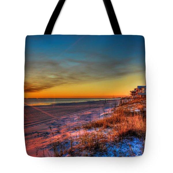 A December Beach Sunset Tote Bag
