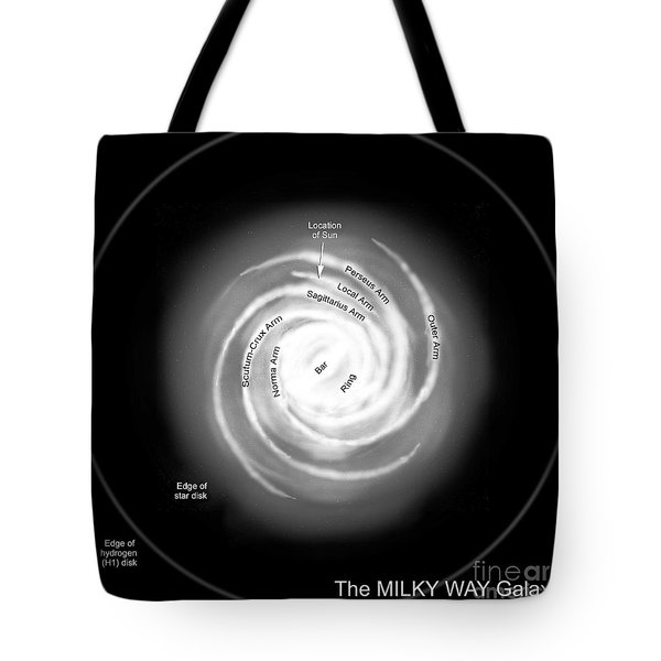 A Diagram Of The Milky Way, Depicting Tote Bag by Ron Miller