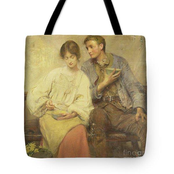 A Dinner Of Herbs  Tote Bag by George William Joy