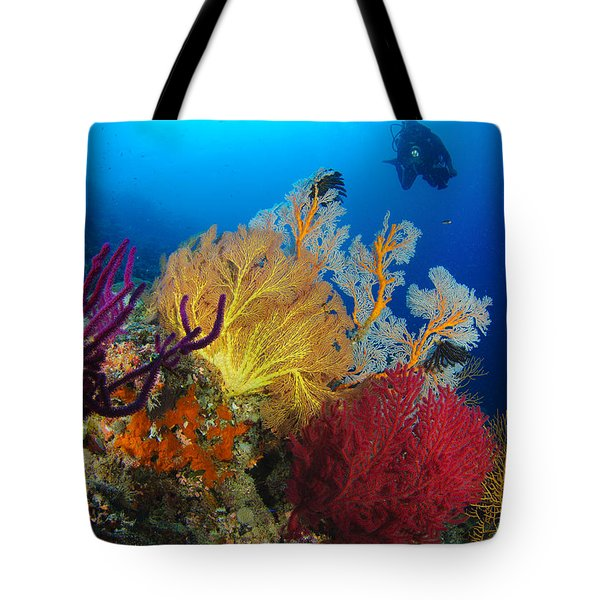 A Diver Looks On At A Colorful Reef Tote Bag by Steve Jones