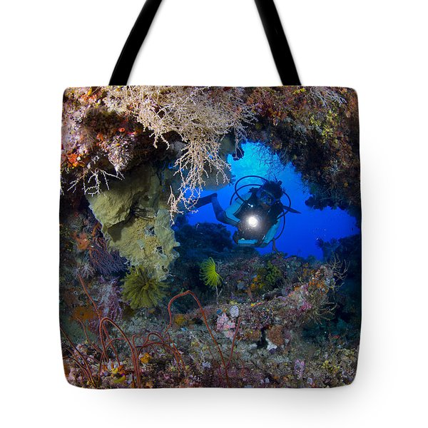 A Diver Peers Through A Coral Encrusted Tote Bag by Steve Jones