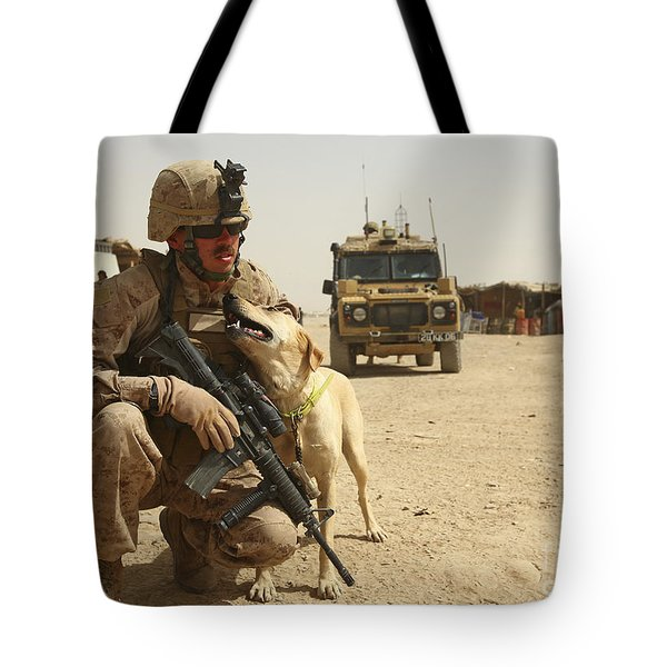 A Dog Handler Posts Security With An Tote Bag by Stocktrek Images