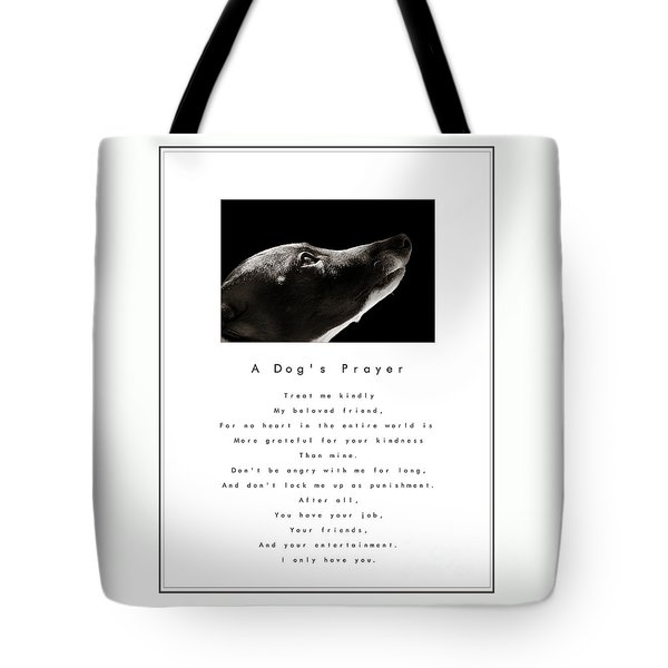 A Dog's Prayer In White  A Popular Inspirational Portrait And Poem Featuring An Italian Greyhound Tote Bag