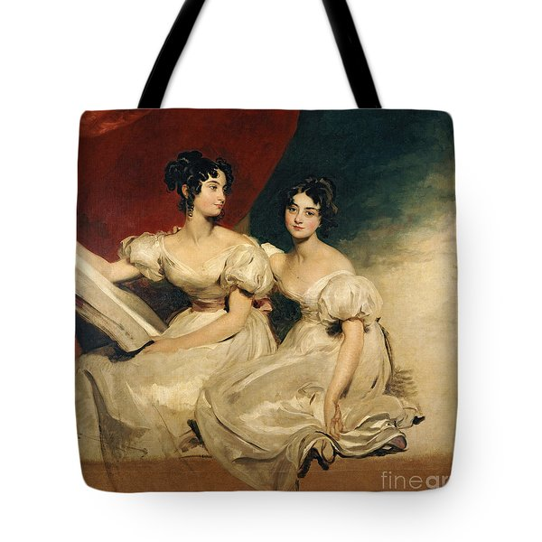 A Double Portrait Of The Fullerton Sisters Tote Bag by Sir Thomas Lawrence