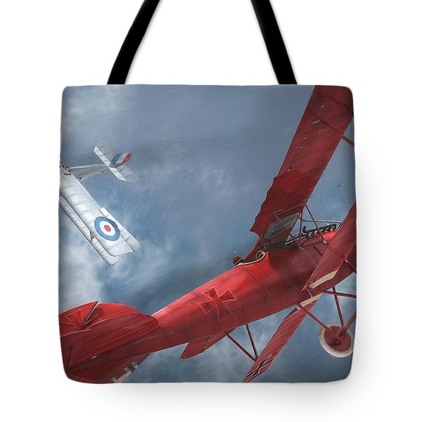 A Duel Begins - The Red Baron Tote Bag by David Collins