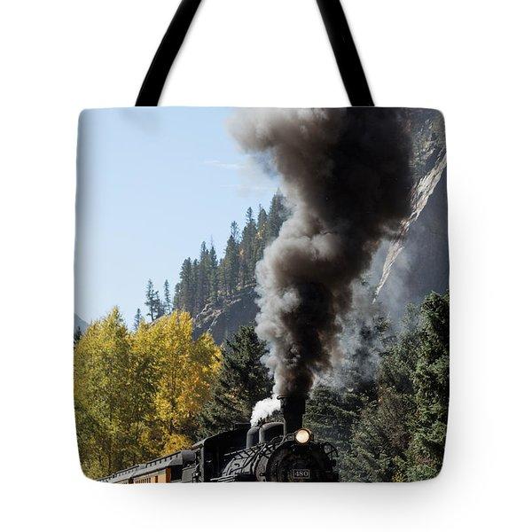 A Durango And Silverton Narrow Gauge Scenic Railroad Train Chugs Through The San Juan Mountains Tote Bag by Carol M Highsmith