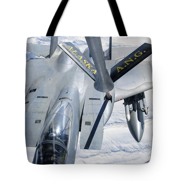 A F-15 Eagle Refuels Behind A Kc-135 Tote Bag by Stocktrek Images