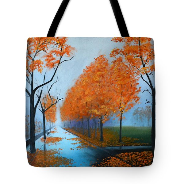 A Fall Morning Tote Bag