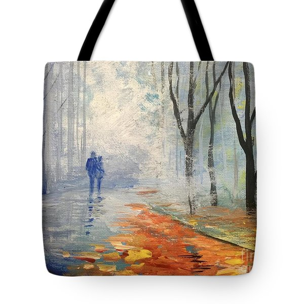 Tote Bag featuring the painting A Fall Walk by Trilby Cole