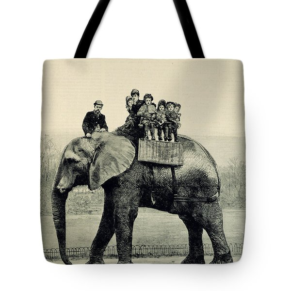 A Farewell Ride On Jumbo From The Illustrated London News Tote Bag by English School
