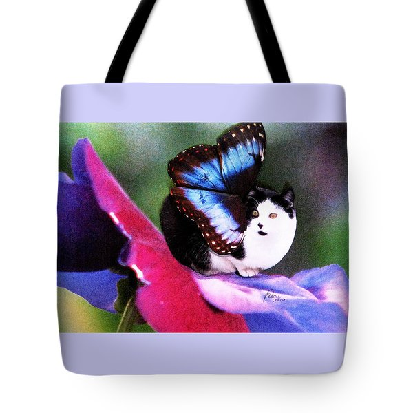 A Feline Fairy In My Garden Tote Bag by Angela Davies