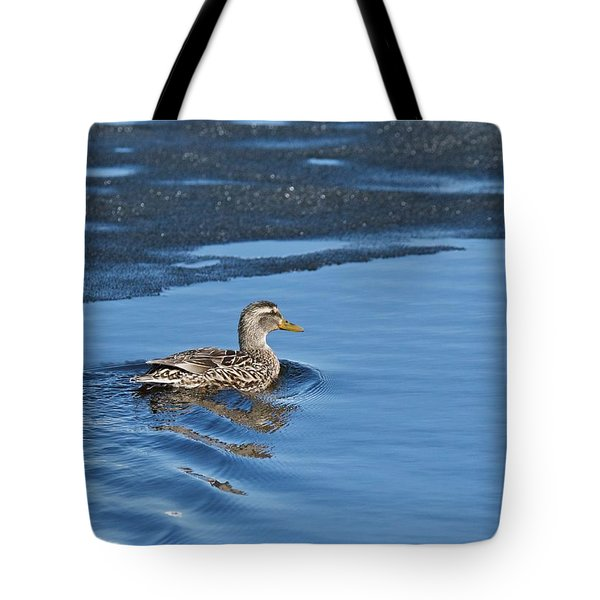 Tote Bag featuring the photograph A Female Mallard In Thunder Bay by Michael Peychich