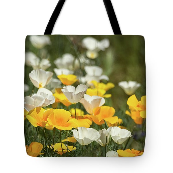 Tote Bag featuring the photograph A Field Of Golden And White Poppies  by Saija Lehtonen