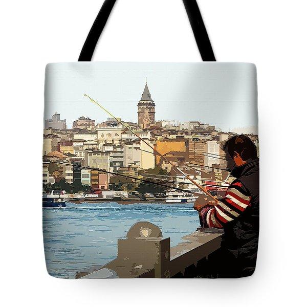 A Fisherman In Istanbul Tote Bag