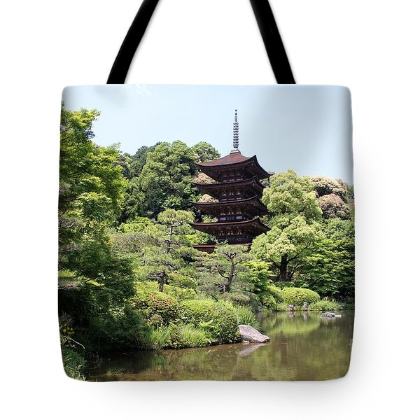 Tote Bag featuring the photograph A Five Storied Pagoda by Yumi Johnson