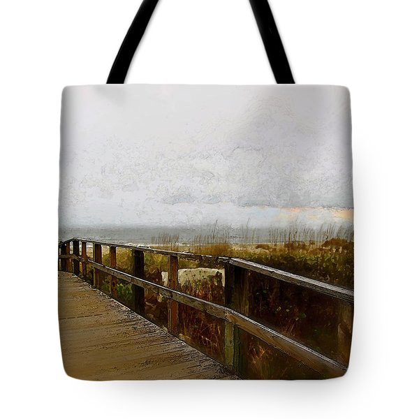 Tote Bag featuring the digital art A Foggy Day by Gina Harrison