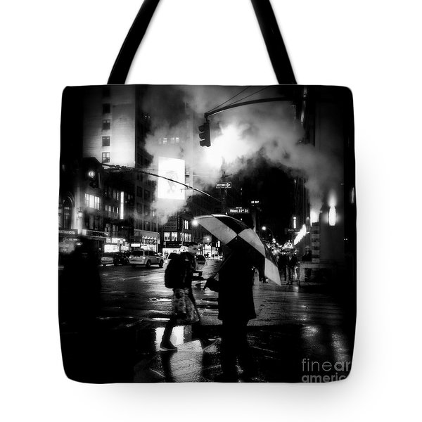 A Foggy Night In New York Town - Checkered Umbrella Tote Bag by Miriam Danar