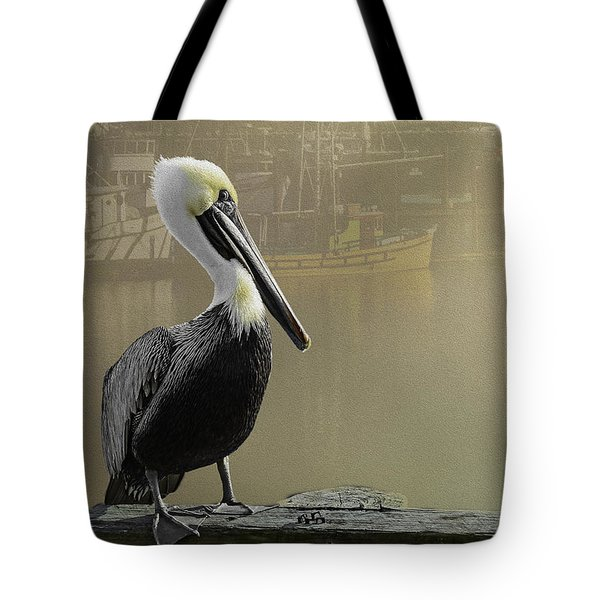 A Foggy Pelican Sunset Tote Bag