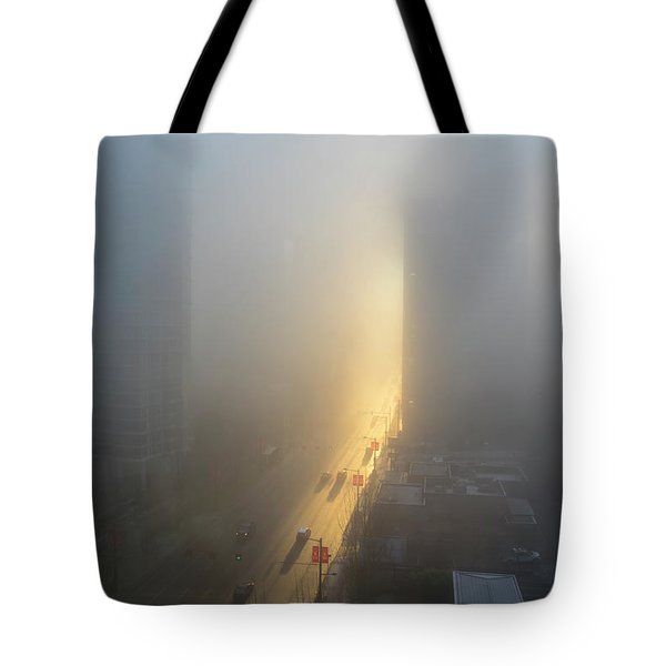 A Foggy Start To The Day In Vancouver Tote Bag