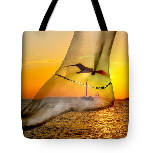 A Foot In The Sunset Tote Bag