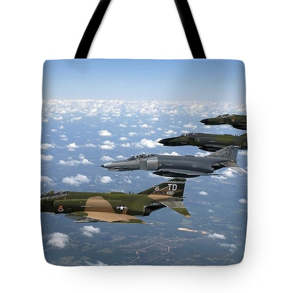 A Formation Of F-4 Phantom II Fighter Tote Bag by Stocktrek Images