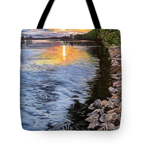 A Fraser River Sunset Tote Bag