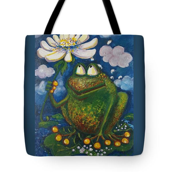 Frog In The Rain Tote Bag by Rita Fetisov