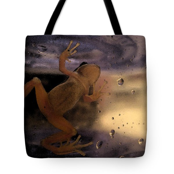 Tote Bag featuring the digital art A Frogs World by Holly Ethan