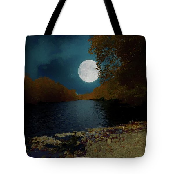 A Full Moon On A River. Tote Bag