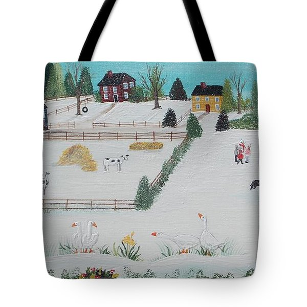 Tote Bag featuring the painting A Gaggle Of Geese by Virginia Coyle