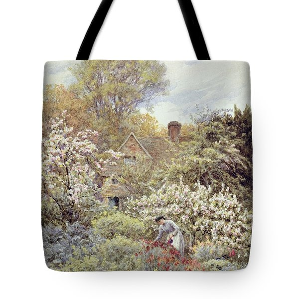 A Garden In Spring Tote Bag by Helen Allingham