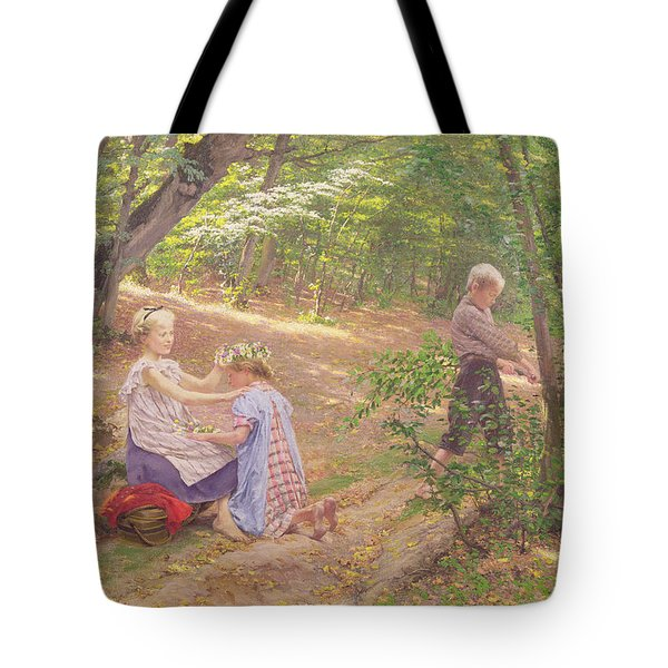 A Garland Of Flowers Tote Bag by Frigyes Friedrich Miess