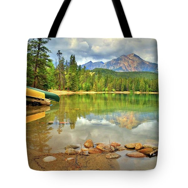 Tote Bag featuring the photograph A Gentle Light At Lake Annette by Tara Turner