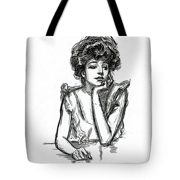 A Gibson Girl Posing Tote Bag