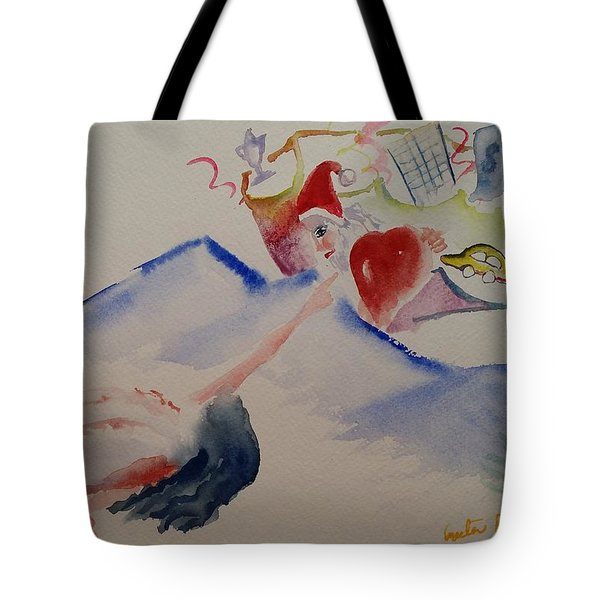 Tote Bag featuring the painting A Gift For The Angel by Geeta Biswas