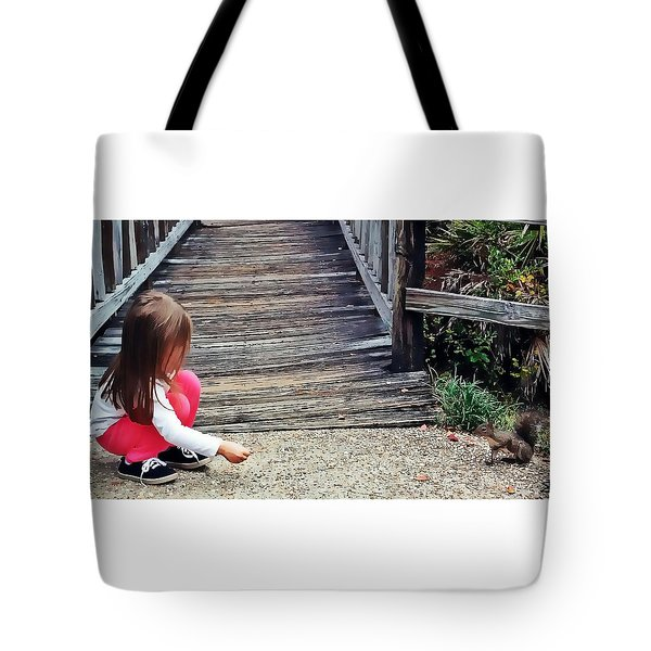 A Girl And A Squirrel Tote Bag