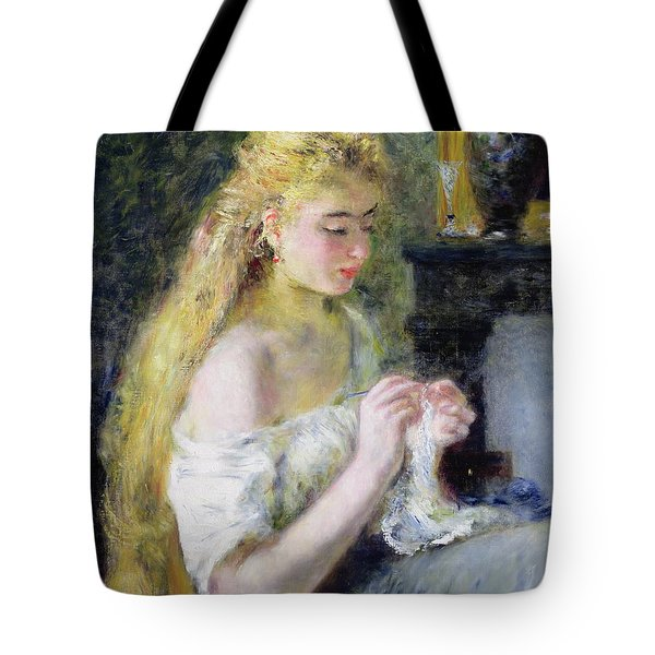 A Girl Crocheting Tote Bag by Pierre Auguste Renoir